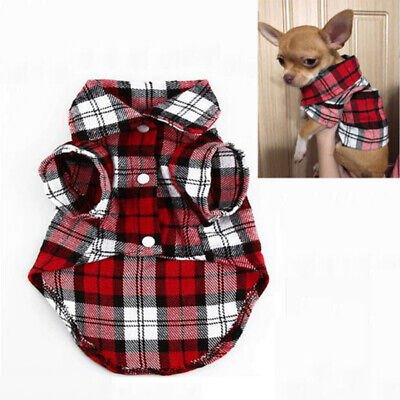 Pet Cat Dog Clothes for Puppy Chihuahua Summer Dog Vest Plaid Shirts T shirt Red