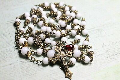 Our Lady Of Fatima 5 Dec's  White Milk Glass Beads Antique Vintage Bronze Rosary