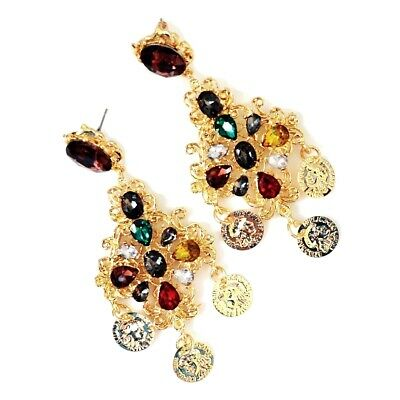 Baroque Vintage Golden Carved Coins Drop Colorful Crystal Chandelier Earrings
