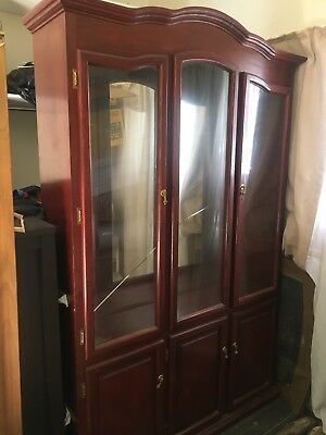 Antique solid Mirrored Display case cabinet Sideboard Wall Unit bookshelf