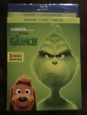 Dr. Seuss' THE GRINCH 2019 Blu-Ray + DVD + Digital W/  Slip Cover Free Shipping