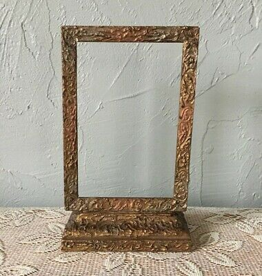 "Antique Ornate Wooden Table Swivel Photo Picture Frame Display NO GLASS 4""X6"""