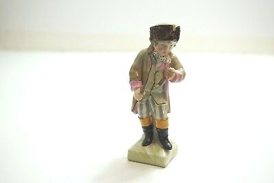 "Antique Dresden German Porcelain Figurine Boy Martius In Brown Coat 4"" Tall"