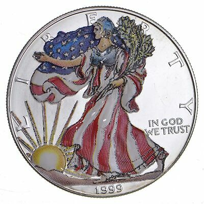1999 Beautifully Painted/Sticker American Silver Eagle 1 Oz. .999 Fine *289