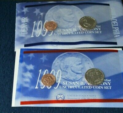 1999 Susan B Anthony Uncirculated Coin Set P and D