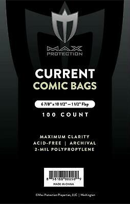 Max Pro Comic Bags (Bag of 100) Current (Modern) Size  by Max Protection