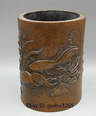 Exquisite Chinese Bamboo Pen holder Carved Hand carved Fish and flower Brush Pot
