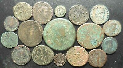 Lot of 17 VF Ancient Roman Coins: Augustus AS, Hadrian Sestertius, Commodus!