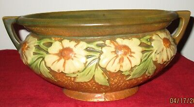 Antique Roseville Pottery 2 Handled Planter Jardiniere, large white flowers