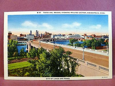 Postcard MN Minneapolis Third Avenue Bridge Showing Milling Section