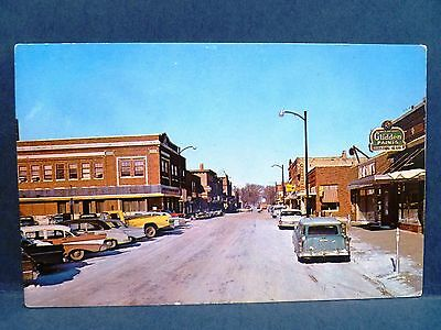 Postcard IA Forest City 1950's  Downtown Street View Old Cars & Stores
