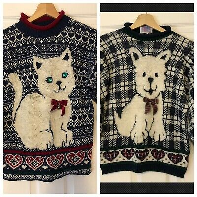 Lot of 2 Vintage 90s Sweaters Girls Sz M 10-12 Cat Dog Kitty Puppy USA Bell Bow