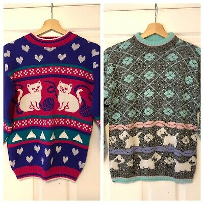 Lot of 2 Vintage 90s Sweaters Girls Sz M 10-12 Cats Dogs Kitty Puppy USA Bright