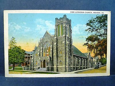 Postcard PA Indiana Zion Lutheran Church