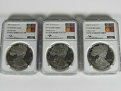 2001,2002,2003 W Proof Silver American Eagles  NGC pf 70 Ucam Mercanti Signed