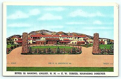 Postcard NM Gallup Hotel El Rancho Route 66 A2