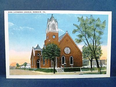 Postcard PA Manheim Zion Lutheran Church