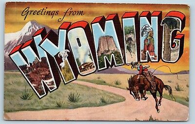 Postcard WY Large Letter Greetings From Wyoming Vintage Linen P11