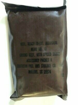~Nos! Us Military Vintage Brown Bag Mre Ground Beef W/ Spiced Sauce Menu No 12