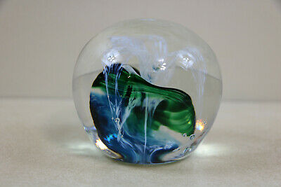 Jerpoint Studios Ireland Art Glass Paperweight Blue Green Swirl White Flower