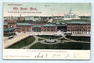 Postcard RI Providence 1907 Old Home Week NYNH & H Railroad Station Capitol F22