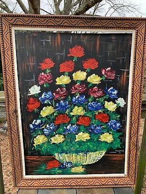 ONE OF KIND Oil Painting FLORAL VASE Red Rose Yellow White Blue Purple ART ❤️m13