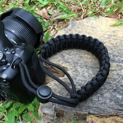 Black Braided 550 Paracord Adjustable Camera Wrist Strap Bracelet
