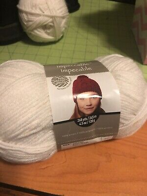 Loops & Threads Impeccable Yarn WHITE # 01005 Acrylic 4.5 oz 4-Med