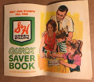 Vintage S & H Green Stamps Quick Saver Book, New, 1200 Stamp Value
