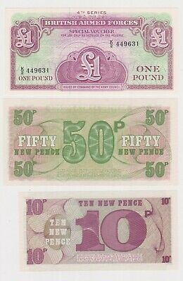 (N29-43) 1972 GB military bank notes 1 pound, 50p & 10p UNC (AR)