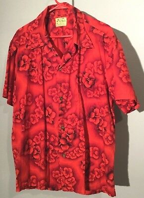 e7b73aac7 Mens Vintage 1960's Ui-Maikai Hawaiian Short Sleeve Shirt Size XL Red Cotton