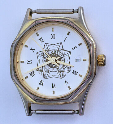 Vintage VFW Ladies Auxiliary Quartz Watch 24mm White Dial 14mm Lugs Roman Works