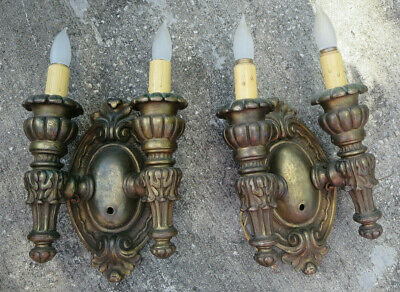 Pair of Antique Plaster Victorian Two Arm Light Wall Sconces