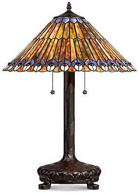 Tiffany Style Table Lamp Antique Bronze Stained Glass for Living Room Bedroom