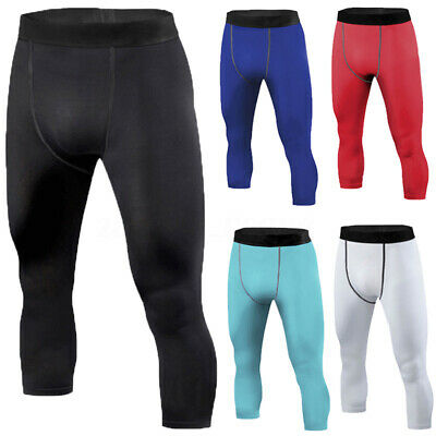 Mens Sports Compression Pants Tights Workout GYM Base Layers Rugby Skins Fitness