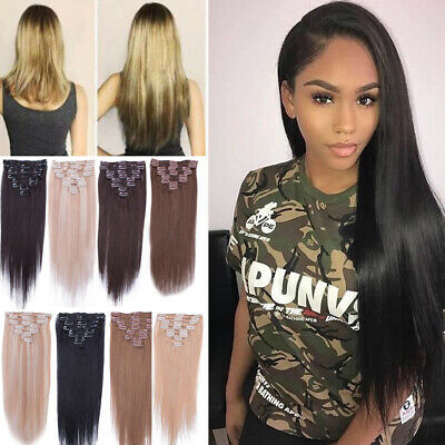 """8pcs Clip in Hair Extensions Real 100% Remy Human 14""""-22"""" Full Head CLEARANCE"""