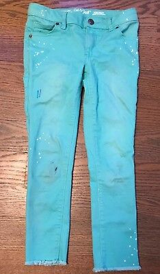 Cherokee Girls Size 14 Hot Wire Aqua Skinny Low Rise Jeans with Lace Design NWT