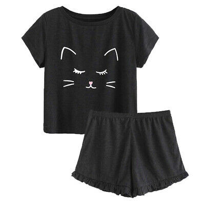Women's Cute Cartoon Print Tee and Shorts Pajama Set Short Sleepwear Homewear Pj