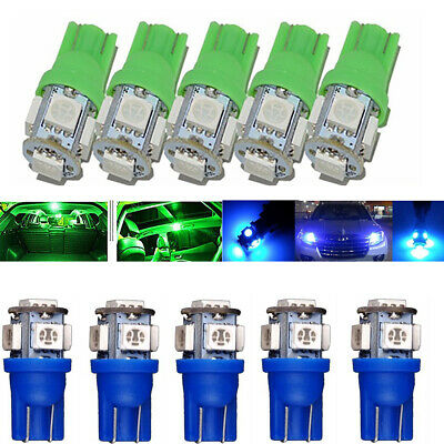 10x Blue Green T10 Wedge 5-SMD 5050 LED Light bulb W5W 2825 158 192 168 License