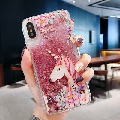 Bling Dynamic Liquid Glitter Quicksand Unicorn Horse Case Cover Summer Pink Gift