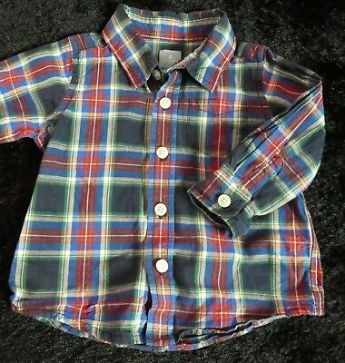 Baby Gap Checked Cotton Shirt Long Sleeve Button Fastening Age 6-12 Months