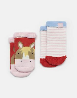 Joules Baby Pack Of Two Terry Towelling Socks in CREAM HORSE