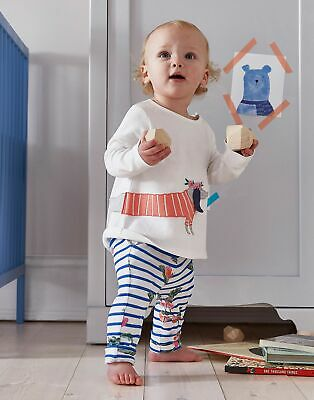 Joules Baby Olivia Jersey Applique Top And Trousers Set in WHITE SAUSAGE DOG