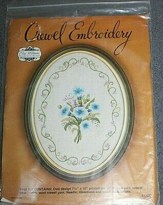New CREWEL EMBROIDERY KIT - Oval Floral Design printed on fabric  New kit