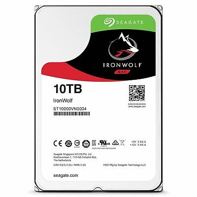 "10TB Seagate IronWolf NAS HDD SATA 3.5"" Internal Hard Drive 7200RPM 256MB Cache"