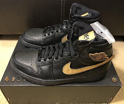 competitive price 22279 2a79c NIKE AIR JORDAN 1 RETRO HIGH BHM MEN S sz 9 BLACK-METALLIC GOLD PATCH 908656