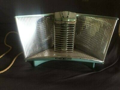 Retro vintage Vulcan Conray flame shell working radiant heater - blue and chrome