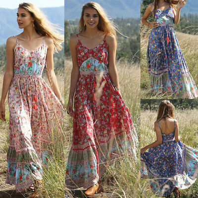 Summer Floral Sleeveless Pleated Sundress Boho Strappy Long Maxi Dress Beach