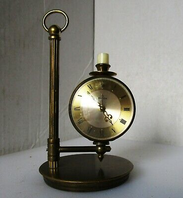 Lovely Vintage Candlestick Brass Alarm Clock from UTI SWIZA