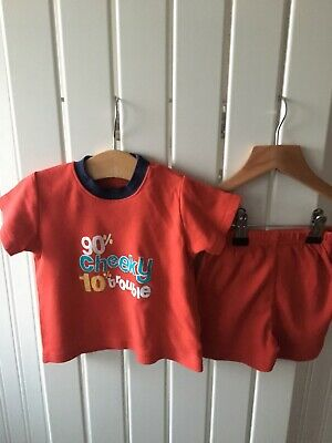 Baby Boy's Clothes 3-6 Months - 2pc Outfit 90% Cheeky Slogan Short Set 🦀🦀🦀